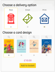 Delivery options - post, ecard or print at home PDF