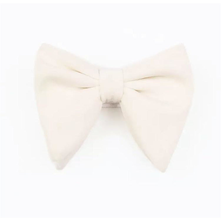 White Velvet oversized bow tie