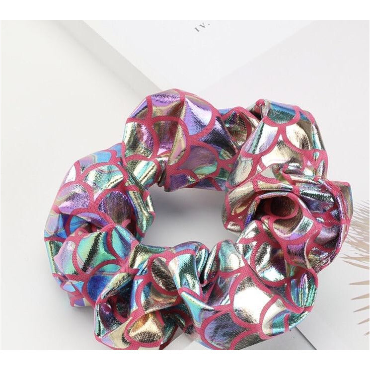 Cerise pink and silver mermaid Scrunchie