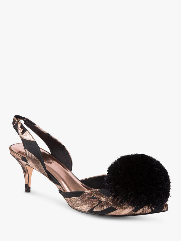 Ted Baker Mikali Jacquard Pom Pom Low Heel Slingback - Bhe Accessories