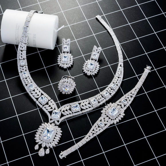 Luxury Silver 4 Piece Cubic Zirconia Jewelry Set - Bhe Accessories