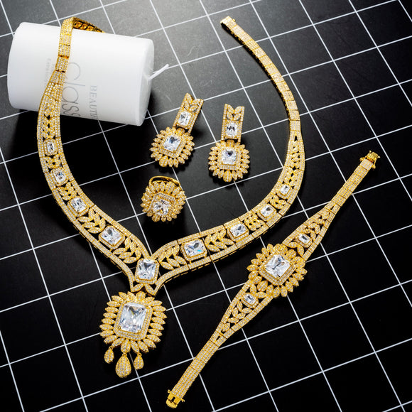 Luxury Gold 4 Piece Cubic Zirconia Jewelry Set - Bhe Accessories