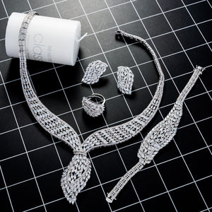 Silver 4 Piece Cubic Zirconia Jewelry Set - Bhe Accessories