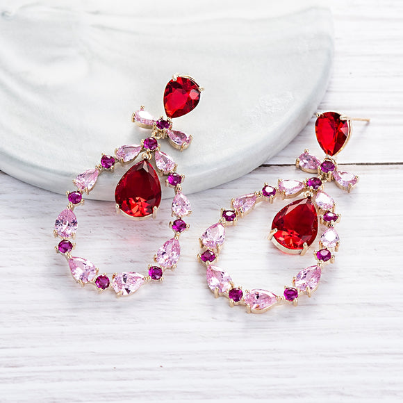 Multicolour Red and Pink Bow Detail Cubic Zirconia Earrings - Bhe Accessories