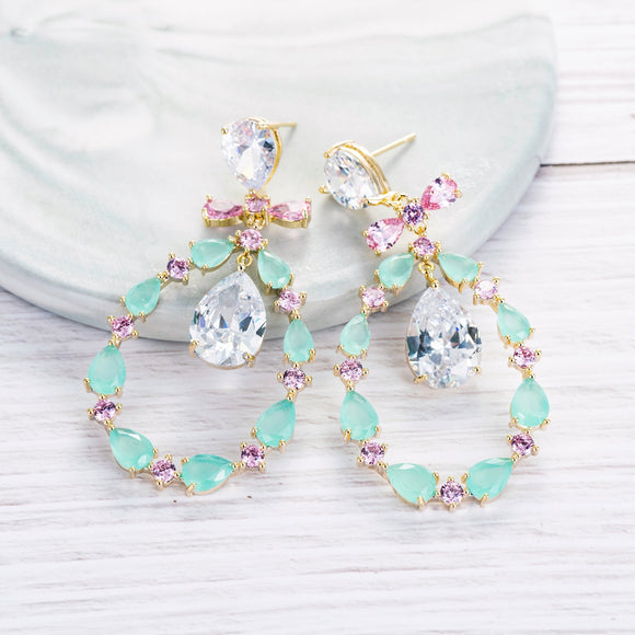 Multicolour Mint Green and Pink Bow Detail Cubic Zirconia Earrings - Bhe Accessories