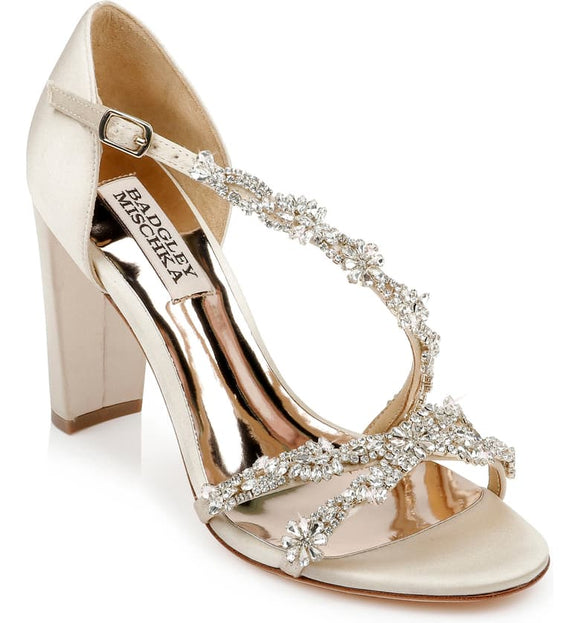 Badgley Mischka Omega Crystal Ivory Satin Embellished Sandal - Bhe Accessories