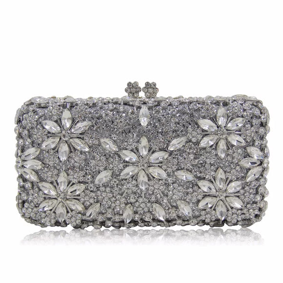 Crystal Floral Rhinestone Embellished Clutch - Bhe Accessories