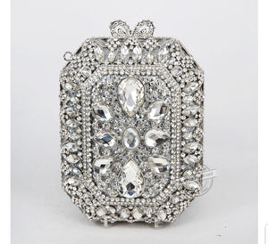 Squared Silver Crystal Embellished Clutch - Bhe Accessories