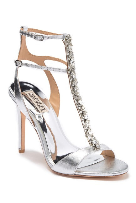 Badgley Mischka Hollow T-Strap Embellished Sandal - Bhe Accessories