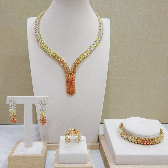 Orange  and Gold Bridal Micro paved Cubic Zirconia 4 Piece Jewelry Sets - Bhe Accessories