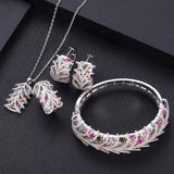 Entwined Multi Colored Cubic Zirconia 4pieces Jewellery Set