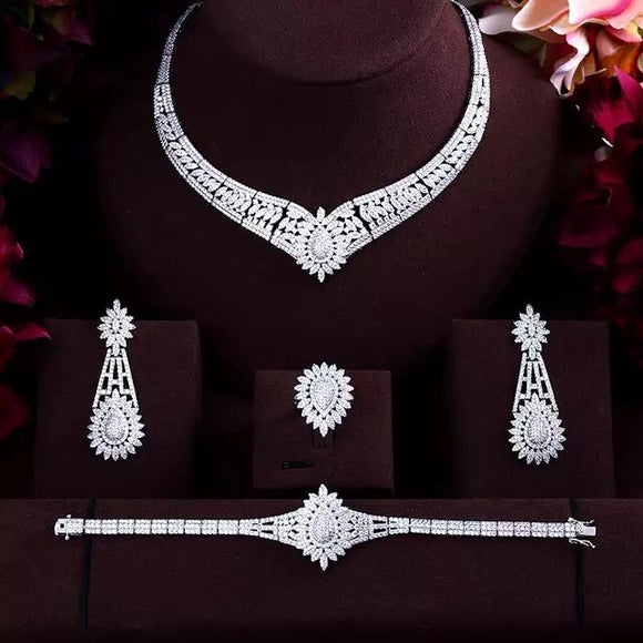Silver 4 Piece Round Cubic Zirconia Jewelry Set - Bhe Accessories