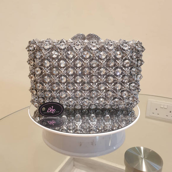 Full Crystal Rectangle Embellished Clutch - Bhe Accessories