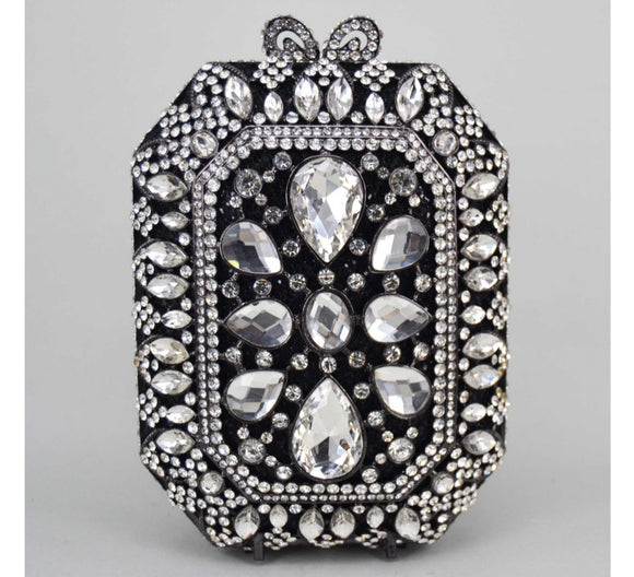 Squared Black Crystal Embellished Clutch - Bhe Accessories