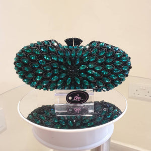 Floral Embellished Jade Crystal Clutch - Bhe Accessories