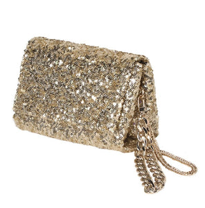 Gold Sequin Structured Flap Clutch with Long and Short Chains - Bhe Accessories