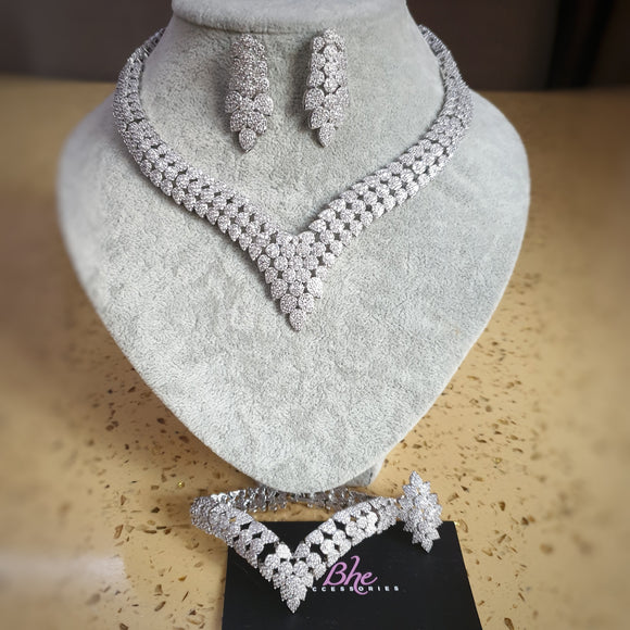 V Cubic Zirconia Necklace, Earring, Bracelet and Ring Jewelry Set