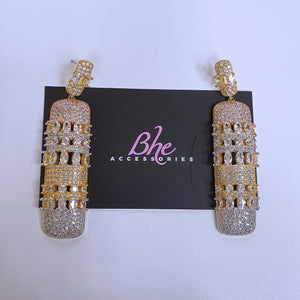 3 Tone Cubic Zirconia Earrings - Bhe Accessories