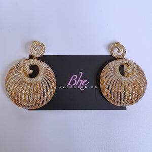 3 Tone Big Basket Cubic Zirconia Earrings - Bhe Accessories