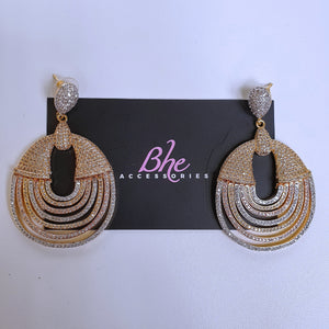3 Tone Big Circle Cubic Zirconia Earrings - Bhe Accessories
