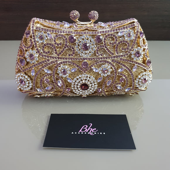 Bhe Accessories Lilac and Gold Crystal Clutch - Bhe Accessories