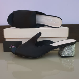 Chinese Laundry Black Satin Mule Slippers - Bhe Accessories