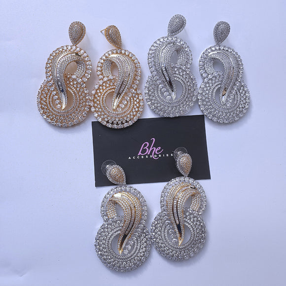 Statement Size Lightweight Cubic Zirconia Earrings - Bhe Accessories