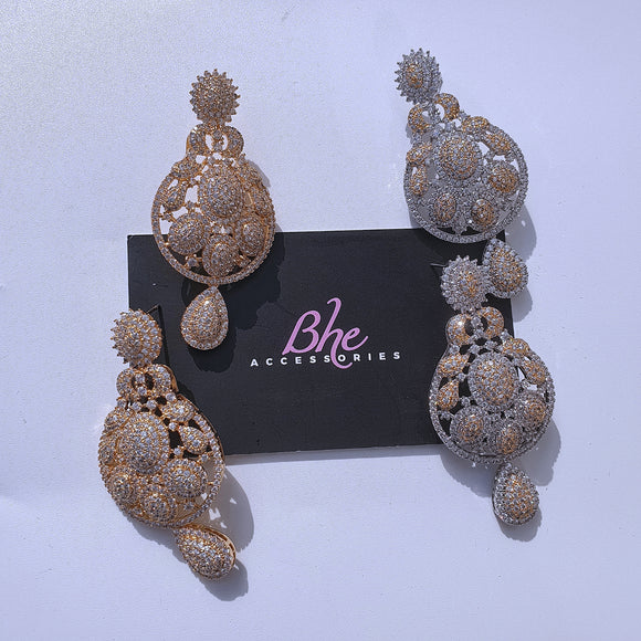 Medium Size Cubic Zirconia Party Earrings - Bhe Accessories