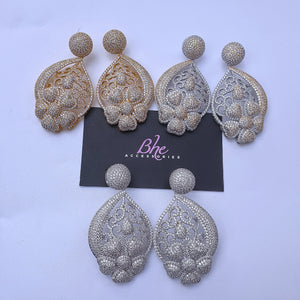 Statement Owambe Cubic Zirconia Party Earrings