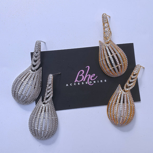 Medium Size Cubic Zirconia Earrings - Bhe Accessories