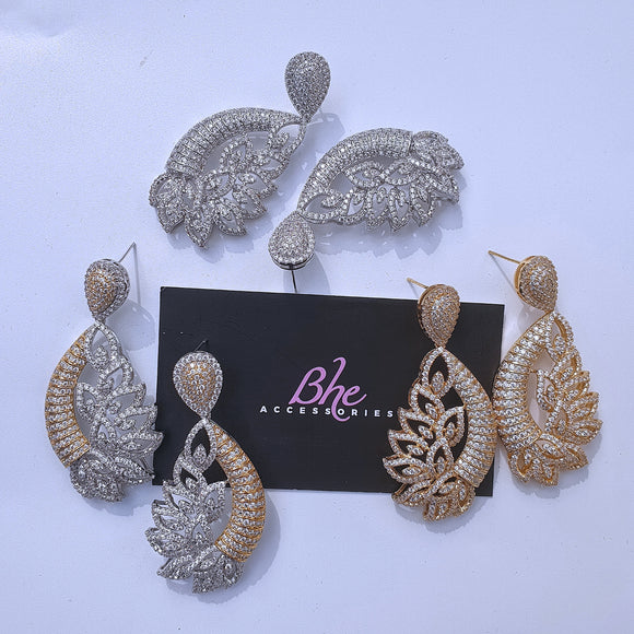 Statement Lightweight Cubic Zirconia Earrings - Bhe Accessories