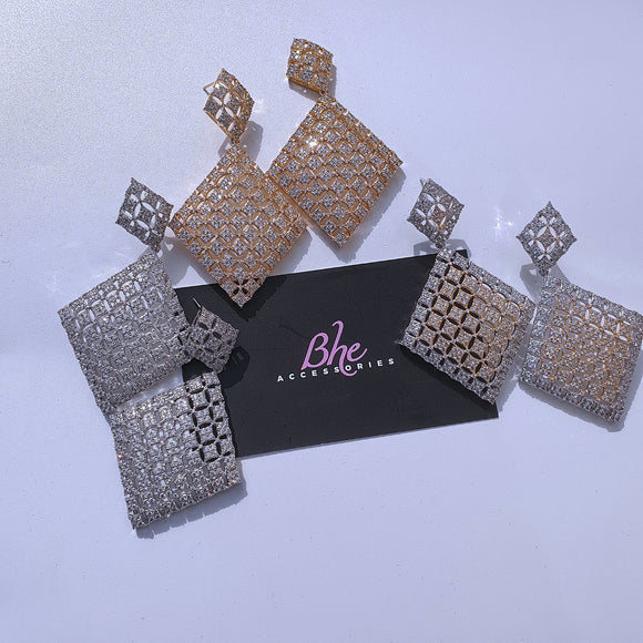Geometric Cubic Zirconia Party Earrings - Bhe Accessories
