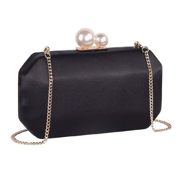Branded Black Satin Clutch 2ith Pearl Clasp - Bhe Accessories