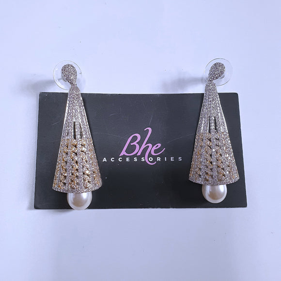 2 Tone Pearl Drop Cubic Zirconia Earrings - Bhe Accessories