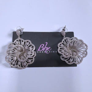 Silver Big Flower Cubic Zirconia Earrings - Bhe Accessories
