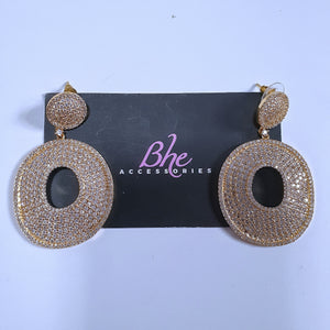 Micro Paved Donut Cubic Zirconia Gold Party Earrings - Bhe Accessories