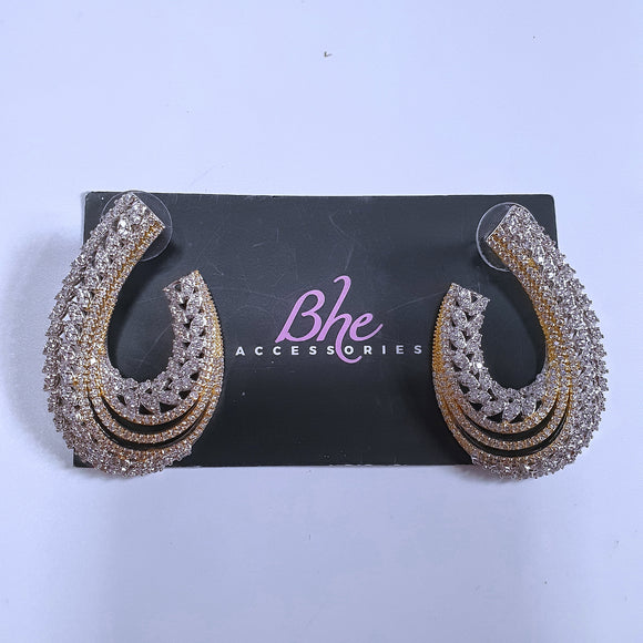 2 Tone Cubic Zirconia Earrings - Bhe Accessories
