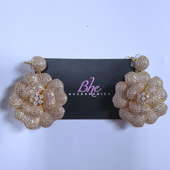 Big Cubic Zirconia Gold Flower Party Earrings - Bhe Accessories