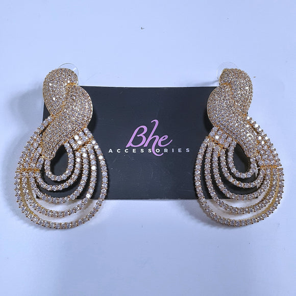 Statement Cubic Zirconia Gold Party Earrings - Bhe Accessories