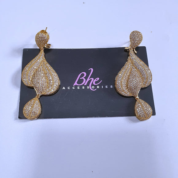 Micro Paved Tear Drop Cubic Zirconia Gold Party Earrings - Bhe Accessories
