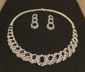 Blue and Silver 2 Piece Cubic Zirconia Jewellery Set - Bhe Accessories