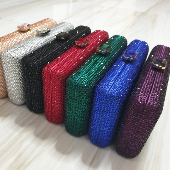 Gem Clasp Crystal Clutch in Red, Black, Blue, Green, Purple, Silver and Rosegold