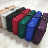 Gem Clasp Crystal Clutch in Red, Black, Blue, Green, Purple, Silver and Rosegold - Bhe Accessories
