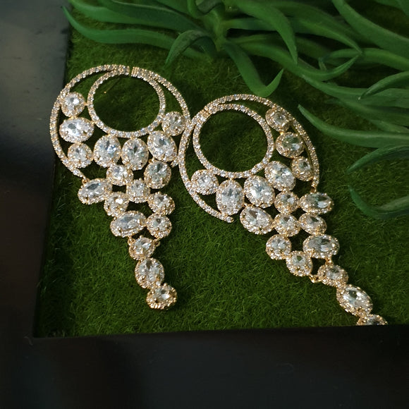 Drop Gold Clear Cubic Zirconia Earring - Bhe Accessories