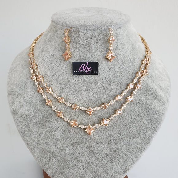 Double Row Rose Gold 2 Piece Cubic Zirconia Jewelry Set