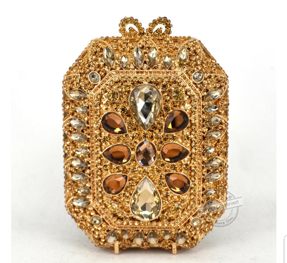 Squared Gold Crystal Embellished Clutch - Bhe Accessories