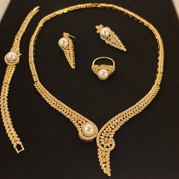 Bhe Accesssories Gold Plated Pearldrop 4 Pieces Jewellery set