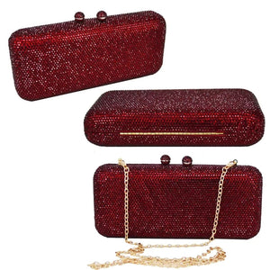 Wine Long Rectangle Full Crystal Clutch - Bhe Accessories