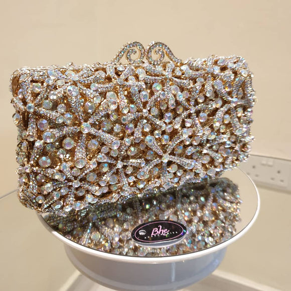 Crystal Embellished Starfish Clutch - Bhe Accessories