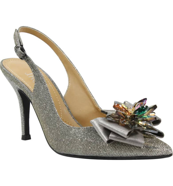 J. RENEÉ Denyell Crystal Ornament Pewter Glitter Fabric Slingback Pump - Bhe Accessories